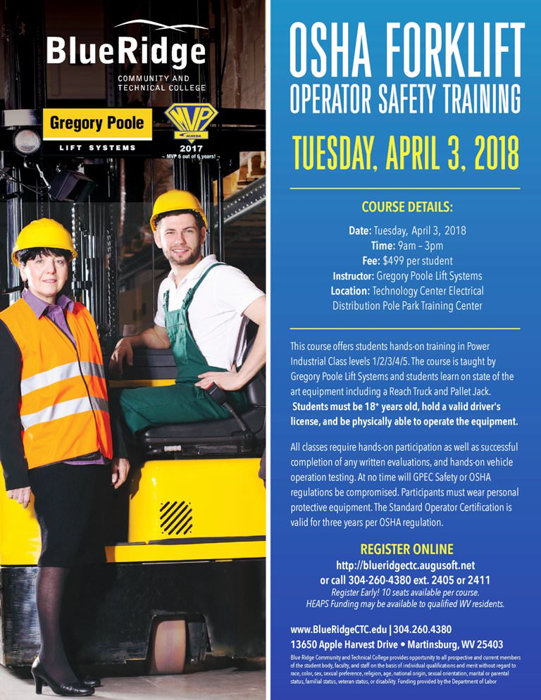 Blue Ridge Ctc Osha Forklift Training April 2018 Local Event