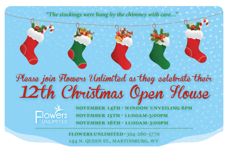 Christmas Open House.Please Join Flowers Unlimited As They Celebrate Their 12th